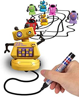 Magic Inductive Robot Toy Follow Black Line with LED Light Educational Toys for Kids (Inductive Robot) (Yellow)