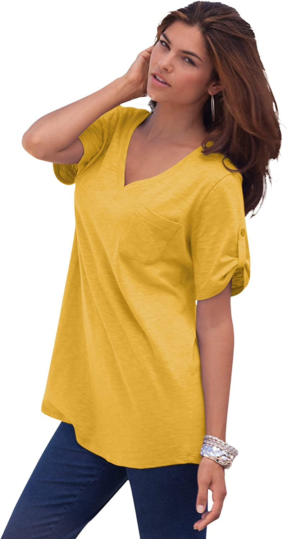 Roaman's Women's Plus Size V-Neck Boyfriend Slub Tunic Long Shirt