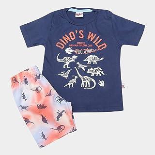 ad7208de4b Conjunto de Camiseta + Bermuda Infantil Kiko   Kika Dinossauro