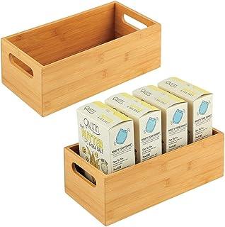 mDesign Caisse de Rangement pour la Cuisine – Boite en Bois Pratique avec poignées – Boite en Bambou pour Rangement d'uste...
