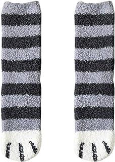 Women Plush Fleece Socks Cartoon Cat Claws Design Thickened Autumn Winter Warm Socks