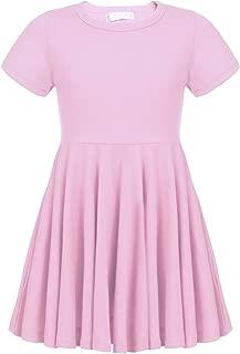 Arshiner Girls Dress Short Sleeve A Line Swing Skater Twirly Hem Dress 2-12 Years