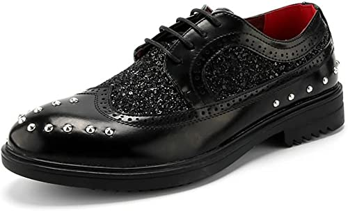 L.W.SUSL Richelieus pour Hommes Talon Plat Couleur PU Cuir Cuir à Lacets Formelle rétro Moderne Chaussures des Chaussures (Couleur   Noir, Taille   40 EU)  magasins d'usine