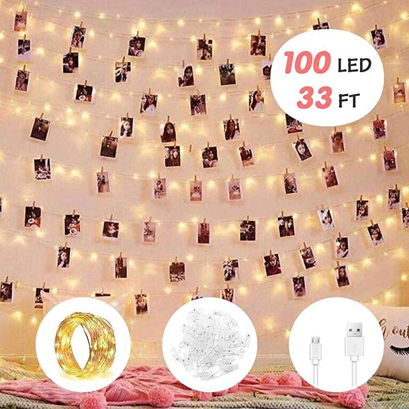 2019 Upgrade Version 100 LED Photo Clip String Lights LED String Lights 8 Modes Waterproof USB Battery Powered Decor Lights With 100 Clear Clips For Birthday Party Room Wall Decor Wedding Festival