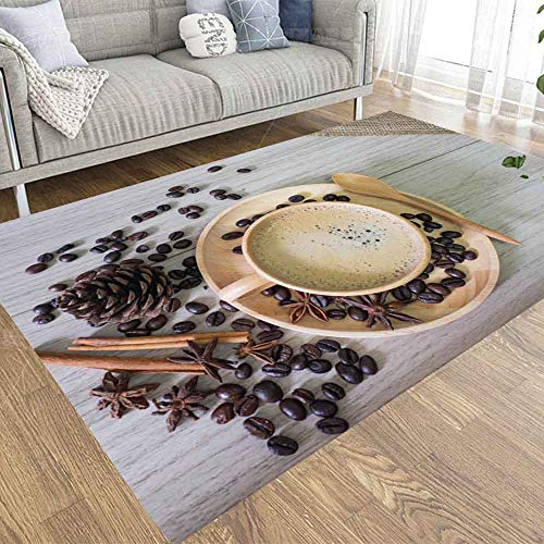Modern Area Rug,Dethel Area Rugs for Living Room Rustic Area Rugs 2X3 Ft Hot Coffee in Wooden Cup Spoon Cinnamon Star Anise Beans Spilled The Area Rug for Kids Dorm Area Rug Dining Area Rug