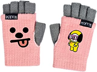 PINGJING KPOP BTS Bangtan Boys Cartoon Cute Gloves Plush Full finger Gloves Winter Warm Gloves