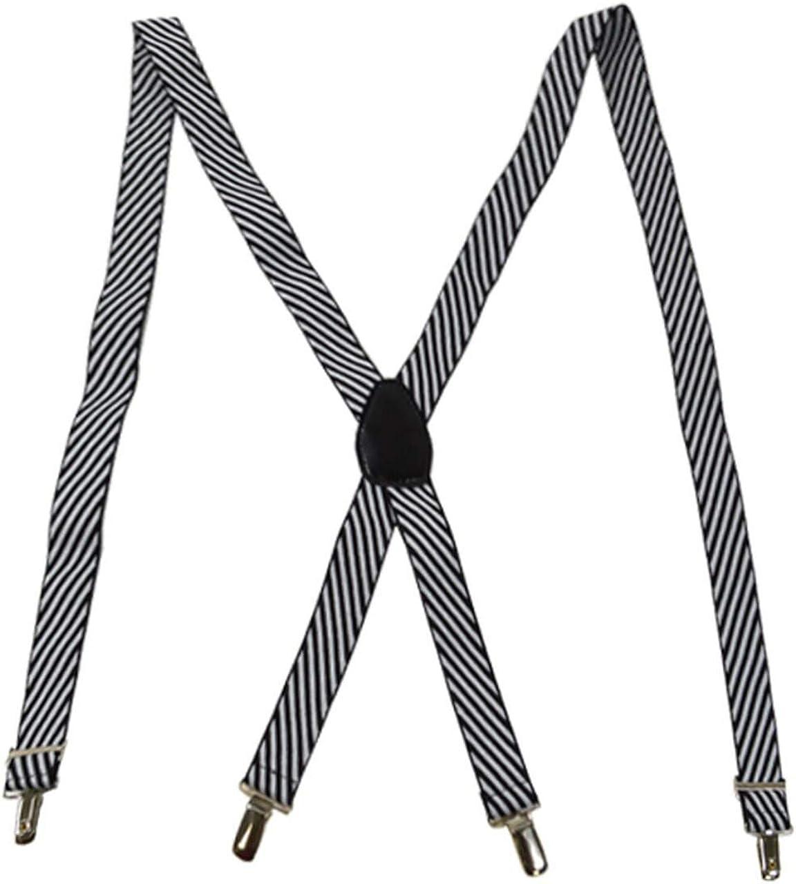 Men's Hipster Black & White Stripe Clip on Adjustable Suspenders