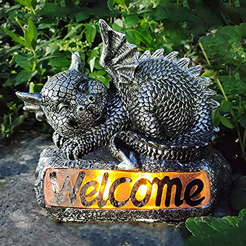 FENGLISUSU Sleeping Dragon Garden Statue,Little Dinosaur Welcome Sculpture with Solar LED Lights,Outdoor Garden Decorations for Patio Yard Lawn Porch, Ornament Gift