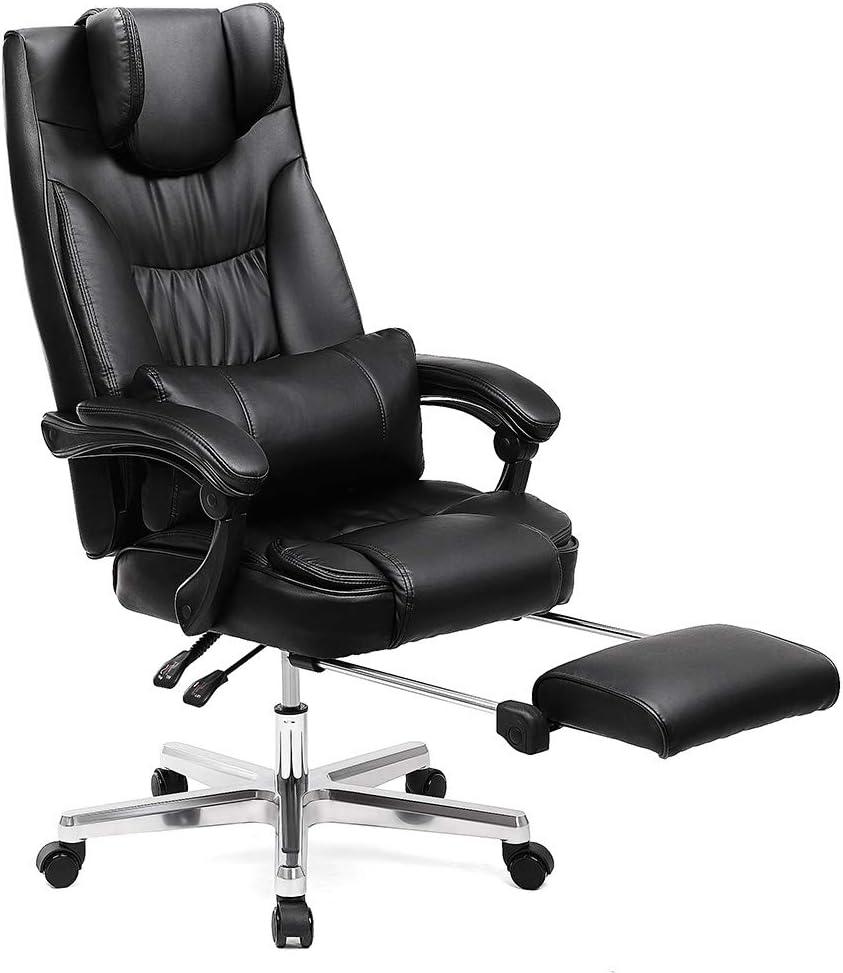 SONGMICS Erstellt, Luxus Bürostuhl mit klappbarer Kopfstütze ausziehbarer Fußablage Extra großer orthopädischer Chefsessel ergonomischer Gaming…