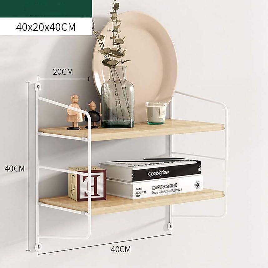 ビンチャップ討論壁棚、錬鉄製テレビ壁装飾パーティション、リビングルーム無料パンチングキッチン収納ラック、省スペース ウォールマウント (Color : Rubber wood, Size : 40x20x40cm)