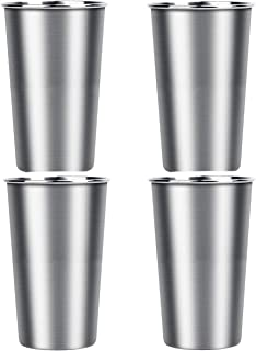 Bisgear Stainless Steel Cups - 4 Pack 16 Ounces Tumbler GlassesBPA Free Healthy Travel Mug with Carrying Sleeve Pouch & Carabiner for Home, Camping, Picnic, Hiking & Backpacking