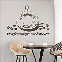 Fobostory Spanish A Cafe Es Siempre Una Buena Idea Vinilos Decorativos Para De Pared Para Cafetería Bar Diy 57X76 Cm