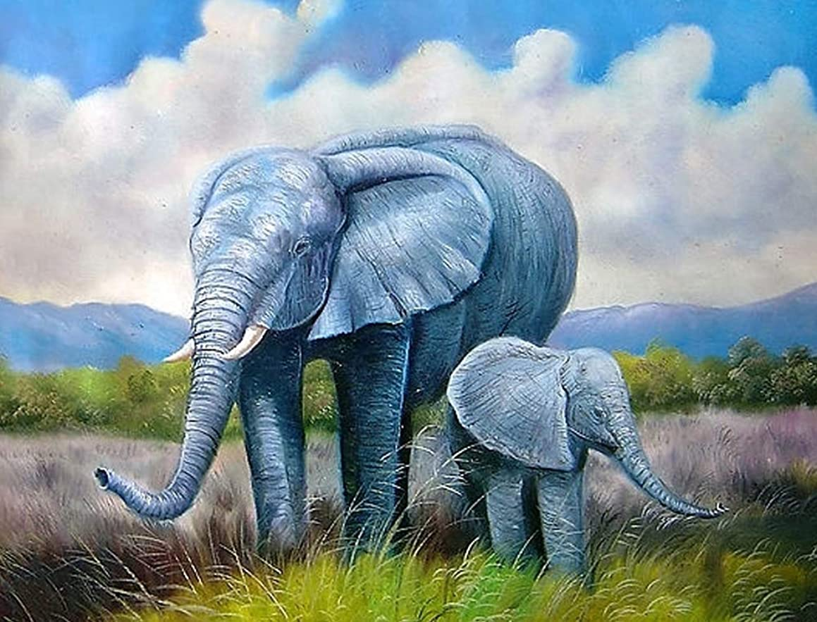 DIY Handwork Store 5D DIY Crystal Cartoon Diamond Painting Elephant Art Cross Stitch Kits Embroidery Sale Love Animals Mosaic Picture of Rhinestones Decoration Home(19.7