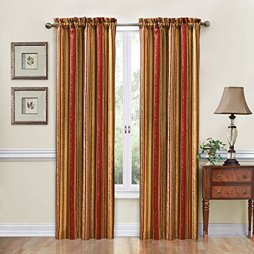"""Traditions by Waverly Stripe Ensemble Rod Pocket Curtains for Living Room, Single Panel, 52"""" x 84"""", Crimson"""