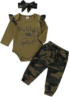 FYMNSI Baby Mädchen Sommer Bekleidungsset Armeegrün Tarnung Gedruckt Top und Rock Outfit 3tlg / 2tlg