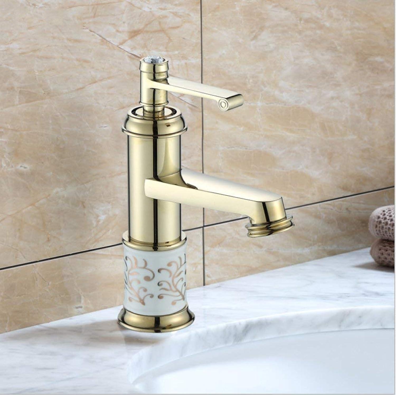 GONGFF Waschtischarmaturen Wasserhahn Gold Kupfer waschbecken Europischen heien und kalten einlochmontage verGoldeten Wasserhahn erhhung Wasserhahn Bad Keramik Wasserhahn mischwasserhahn waschbe
