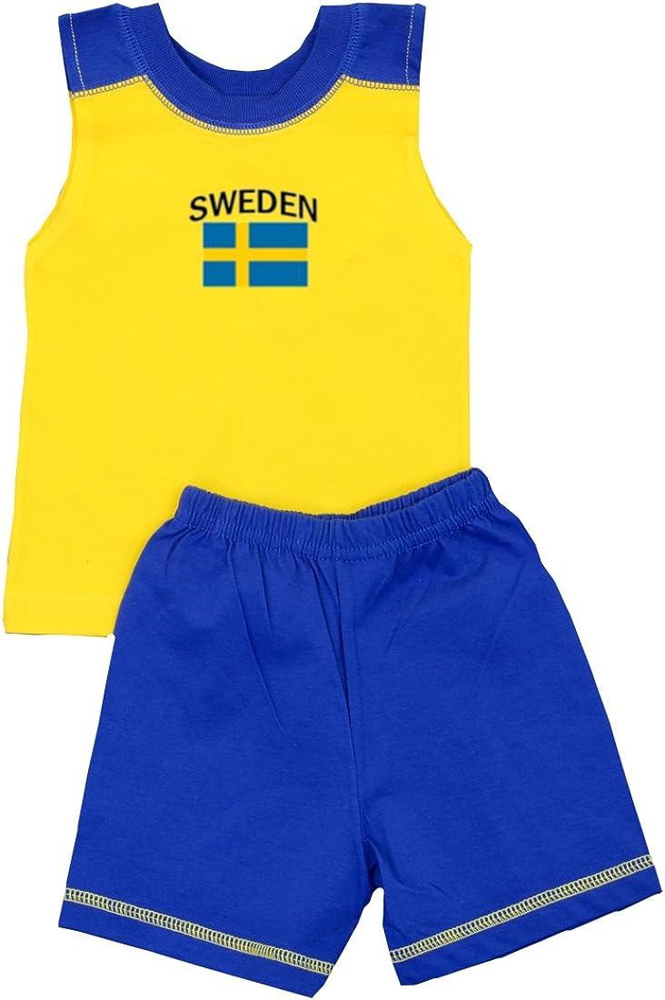 Pam GM Little Boys Sweden Soccer Set - Short Sleeve T Shirt & Shorts