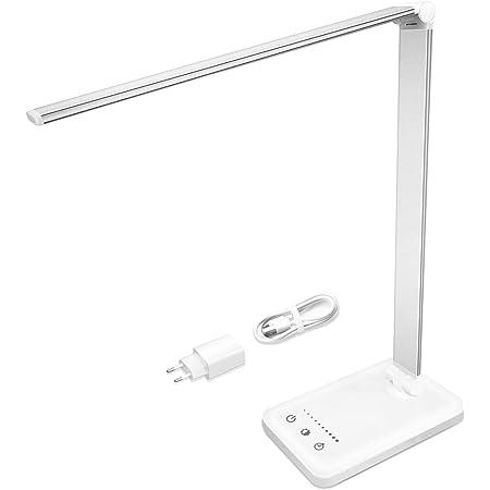 Lampe de Bureau | Lampe Led Réglable avec Chargeur Secteur USB et Câble Micro USB | 5 Modes de Couleur 10 Niveaux de Luminosité | Protection des Yeux | Contrôle Tactile Sensible | Fonction Minuterie