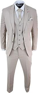 Mens 3 Piece Suit Linen Beige Cream 2 Button Tailored Fit Classic Retro
