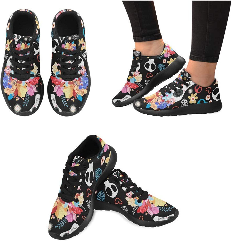 InterestPrint Women Lightweight Casual Sneaker Running shoes Beautiful Skulls Prints