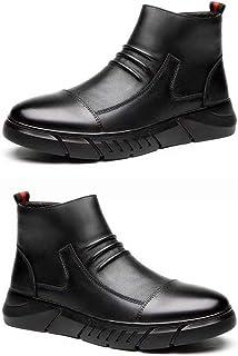 DDyna Mode homme décontracté mi-haut bottes en cuir mâle microfibre cuir caoutchouc hiver étanche amortissement antidérapa...