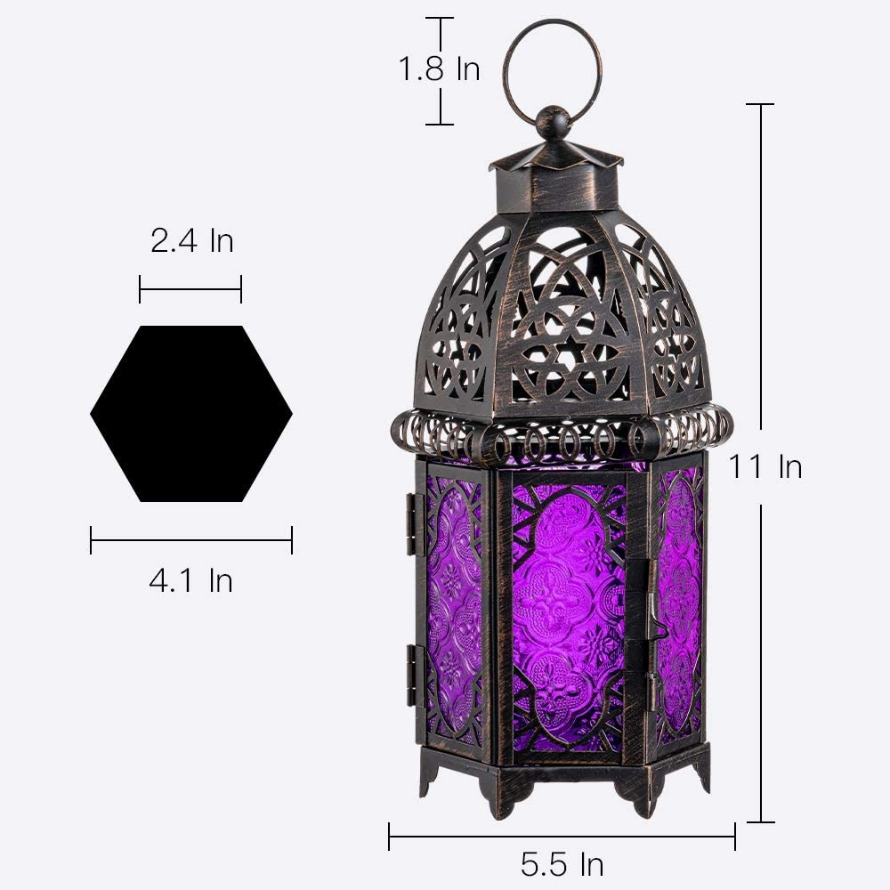 Halloween Candle Holders for Outdoor Patio Moroccan Style Decorative Hanging Lantern Amber DECORKEY Vintage Candle Lantern Metal Tabletop Lantern