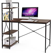 Bestier Computer Desk Home Office Writing Study Wooden Table Workstation with 4 Tier Bookshelves (Brown)