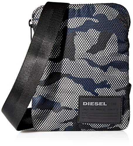 Diesel Herren me F-Discover Cross Geldbörse, Mehrfarbig (Black/White/Blue), 2x19.5x15 Centimeters