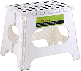 """Greenco Super Strong Foldable Step Stool for Adults and Kids, 11"""", White"""