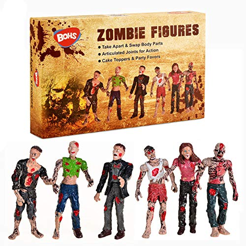 BOHS Zombie Dolls Action Figures Toys - Gift Package - Articulated Joints Miniature Model - 4 Inches - Pack of 6