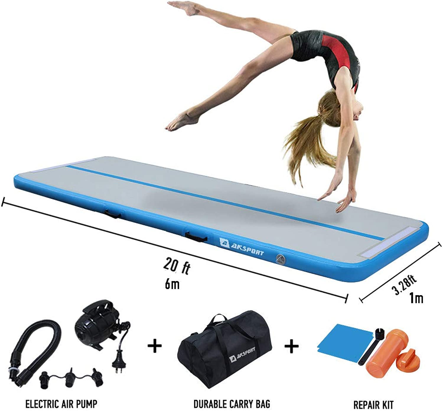 10ft 20ft Air Track, Inflatable Gymnastics Tumbling Air Track Mat with Electric Air Pump for Cheerleading Practice Gymnastics