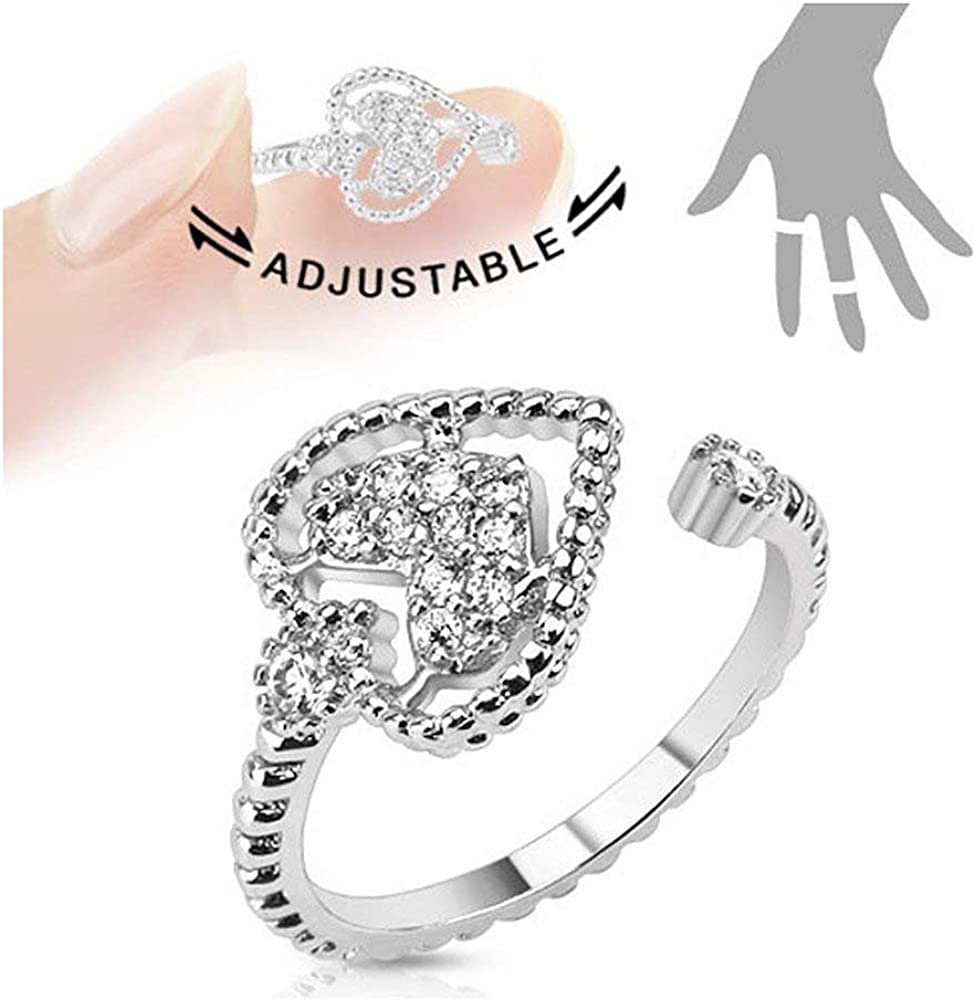 Covet Jewelry Heart Multi-Paved Gems Adjustable Rhodium Plated Brass Mid-Ring/Toe-Ring
