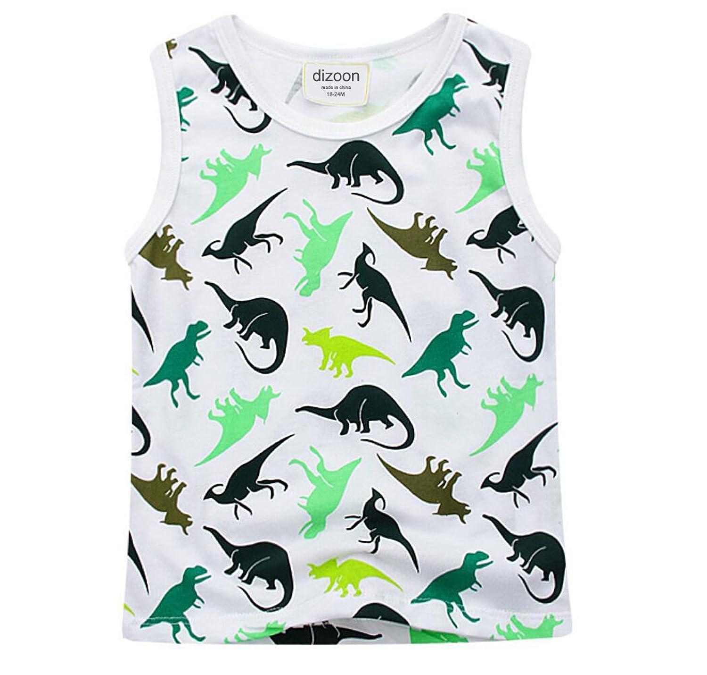 dizoon (ディゾン)キッズ 子供 男の人 服 パジャマ タンクトップ 綿100% 半袖Tシャツ 半ズボン 車 恐竜1-6歲