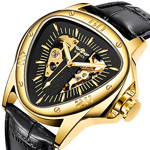 Reloj de pulsera mecánico para hombre, esfera dorada automática, diseño de esqueleto