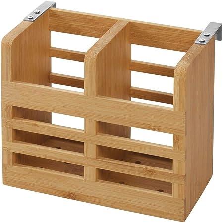 iDesign 43400EU Range comptoir de Cuisine, Placard ou Table à Manger, Petit égouttoir à Couverts en Bambou, Porte-ustensiles transportable avec 2 Compartiments, Beige, 16, 5 cm x 6, x 13, 0 cm
