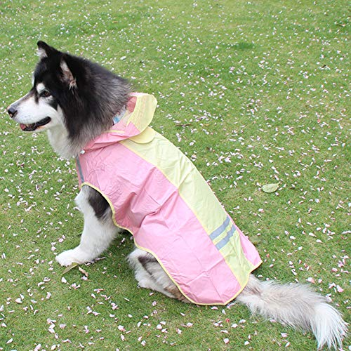 XXDYF Dog Rain Jacket Waterproof Dog Raincoat with Hood, Adjustable Dog Clothes Reflective Raincoat for Large Dogs Husky Golden Retriever,Pink,#9