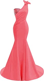 Womens One Shoulder Satin Mermaid Prom Dresses 2018 Long Formal Evening Ball Gowns D44
