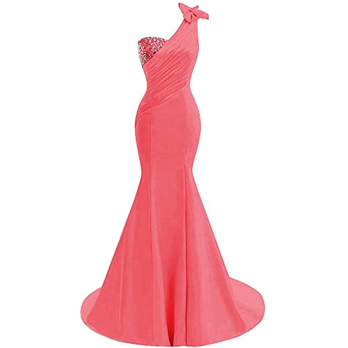 9422c57afd0f Lily Wedding Womens One Shoulder Satin Mermaid Prom Dresses 2018 Long  Formal Evening Ball Gowns D44