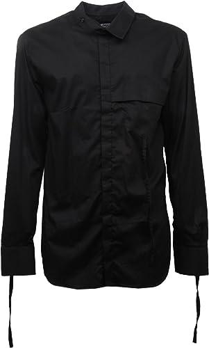 Minimal C3148 Camicia koreana hommes noir overlong Shirt Hommes