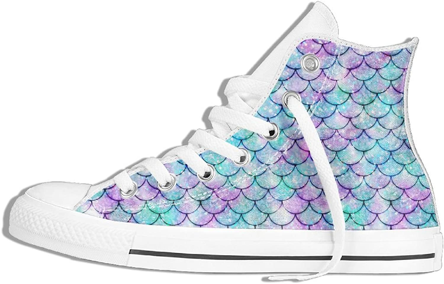 Womens High Top Canvas Sneakers Mermaid Scales Pattern Lace Up Non-slip Running Trainers shoes