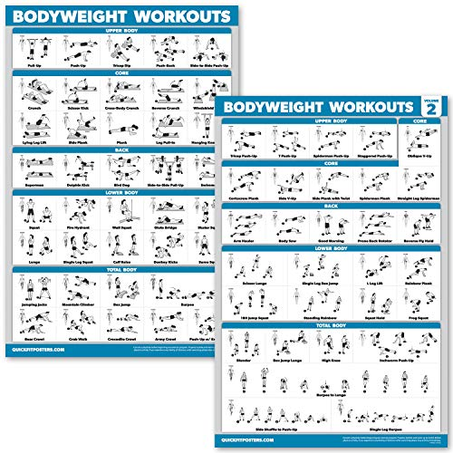"""QuickFit 2 Pack - Bodyweight Workout Exercise Poster Set - Volume 1 & 2 - Laminated Body Weight Exercise Chart - 18"""" x 27"""""""