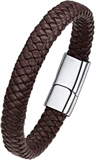 ChainsPro Can Engraved,Men/Women Braided Leather Cuff Bracelet Punk,with Magnetic Clasps,Brown/Black(Send Gift Box)