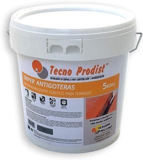 IMPER ANTIGOTERAS de Tecno Prodist - 5 Kg (GRIS CLARO) Pintura Impermeabilizante elástica para Terrazas (A Rodillo o brocha, disponible en color rojo, blanco, verde y gris)