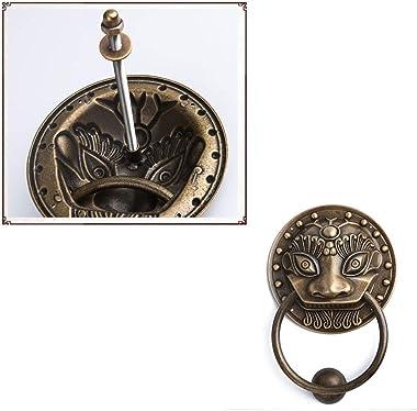 Brass Door Knocker Copper Door Ring Pure Beast Head Knockers Retro Door Accessories Town House Pull Ring (Bronze 19cm)