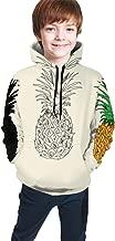 GZtaowen Teens Hoodies Sweatshirts 3D Digital Print Sweatshirts with Pockets - Three Types of Drawing Pineapple Black