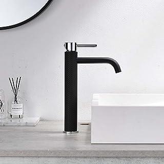 TIMACO Robinet de salle de bain - Mitigeur monocommande - Pour lavabo de salle de bain - Eau froide et chaude - Noir et ch...