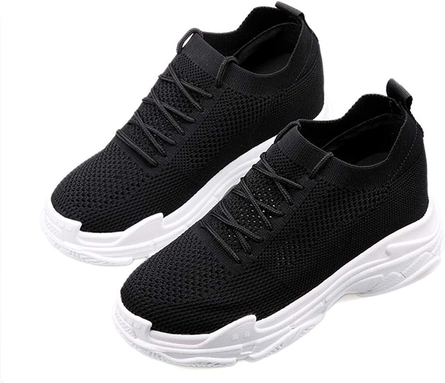 T-JULY Womens Hollow Out Air Mesh shoes Platform Sneakers for Women Black Tenis Feminino Casual Wedges shoes for Women