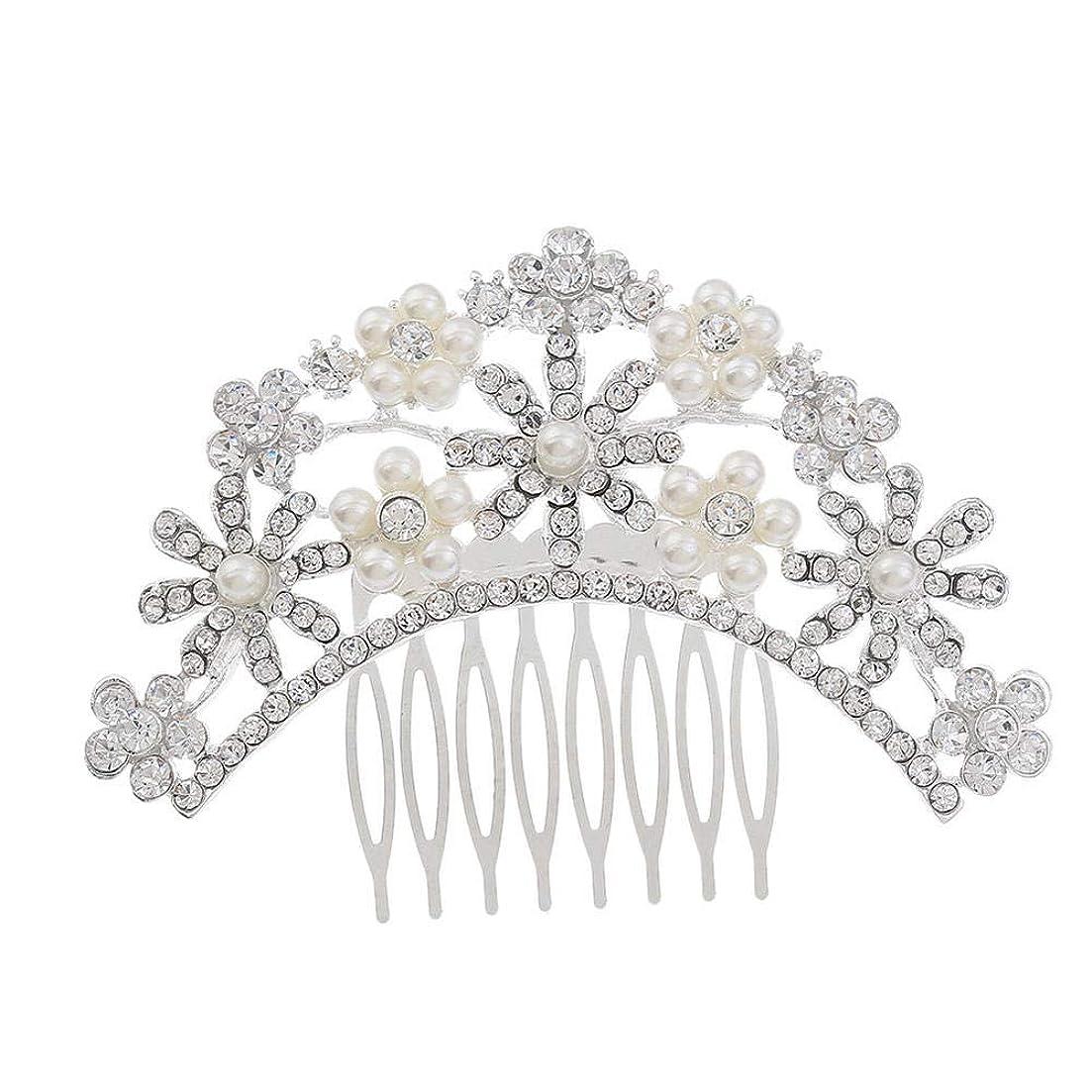 瞑想案件農民ヘアコームコーム櫛花嫁の髪櫛クラウンヘッドバンド結婚式の帽子真珠の髪の櫛ラインストーンインサート櫛