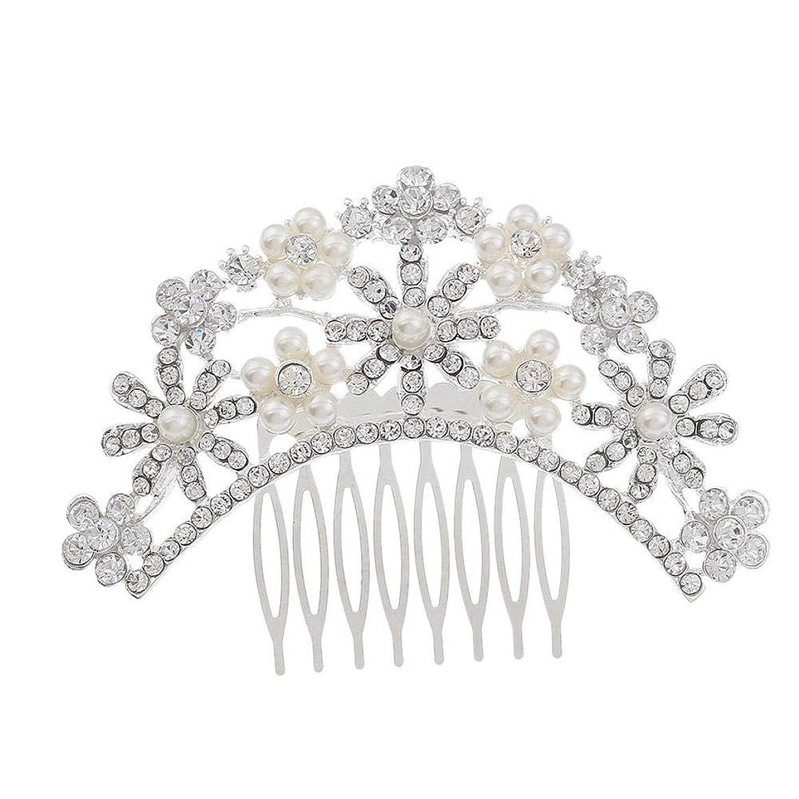 注目すべき強化ロードされたヘアコームコーム櫛花嫁の髪櫛クラウンヘッドバンド結婚式の帽子真珠の髪の櫛ラインストーンインサート櫛
