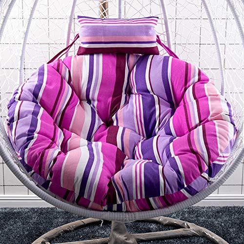 GE&YOBBY Round Fabric Hanging Chair Cushion,Strip Geometric Multi Color Seat Cushion,Breathable Ottoman for Swing Wicker Rattan Egg Chair Hammock Garden Padio F 120cm(47inch)